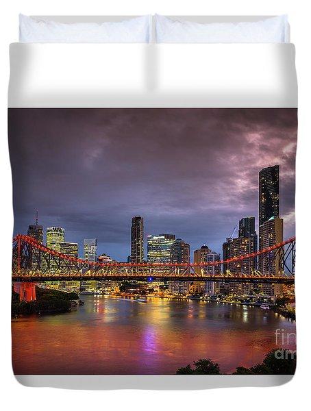 Brisbane City Skyline After Dark Duvet Cover
