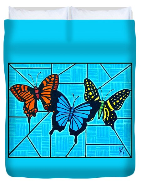 3  Butterflies On Blue Duvet Cover