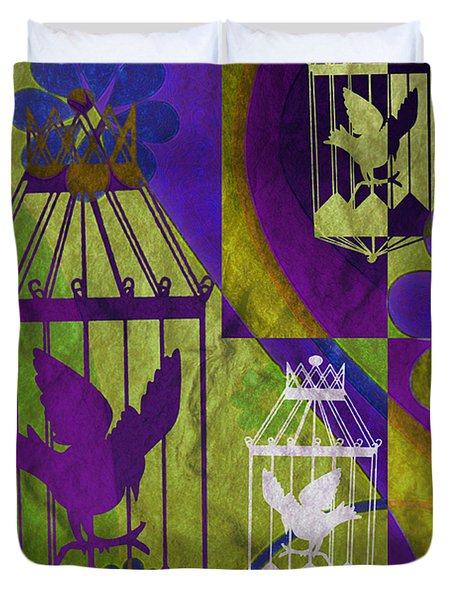 3 Caged Birds Duvet Cover