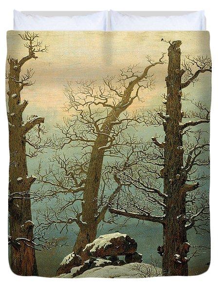 Cairn In Snow Duvet Cover