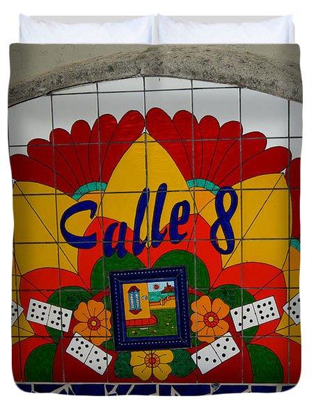 Calle Ocho Cuban Festival Miami Duvet Cover