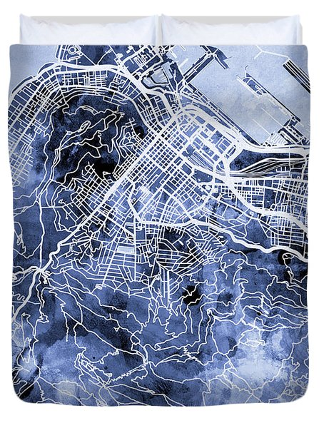 Cape Town South Africa City Street Map Duvet Cover