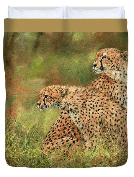 Cheetahs Duvet Cover by David Stribbling