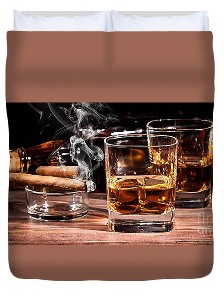 Cigar And Alcohol Collection Duvet Cover by Marvin Blaine