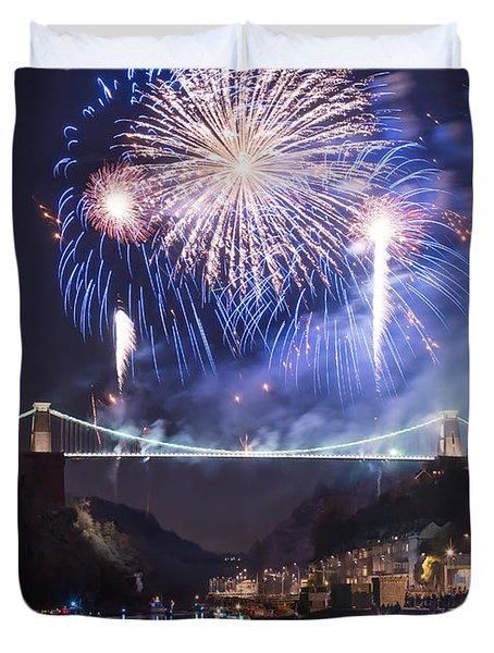 Clifton Suspension Bridge Fireworks Duvet Cover