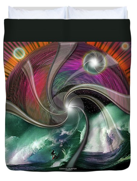 Cosmic Surfer Duvet Cover