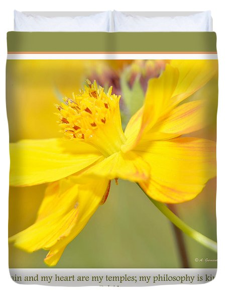 Duvet Cover featuring the photograph Cosmos Flower In Full Bloom by A Gurmankin