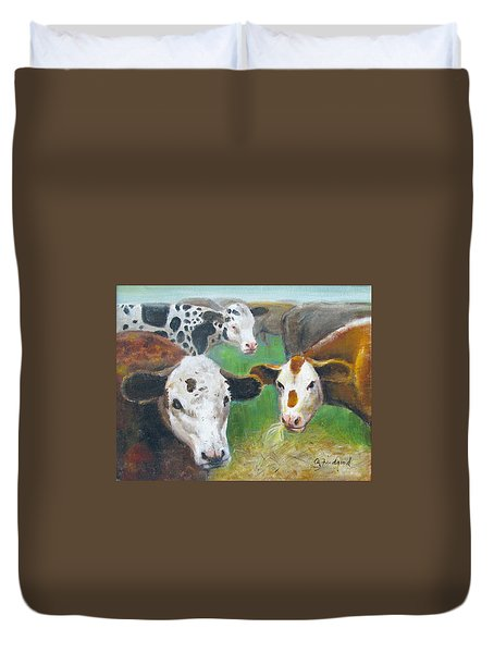 Duvet Cover featuring the painting 3 Cows by Oz Freedgood