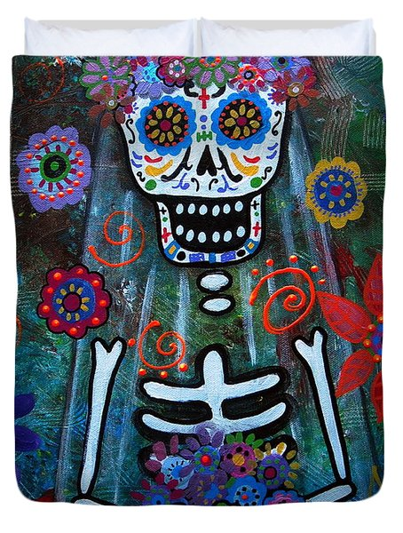 Day Of The Dead Bride Duvet Cover by Pristine Cartera Turkus