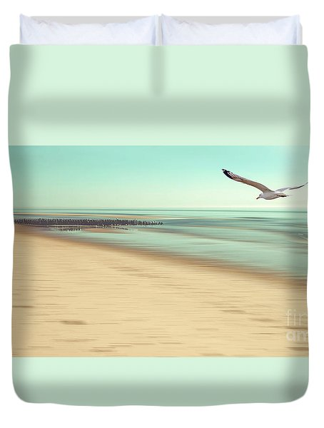 Duvet Cover featuring the photograph Desire Light Vintage by Hannes Cmarits
