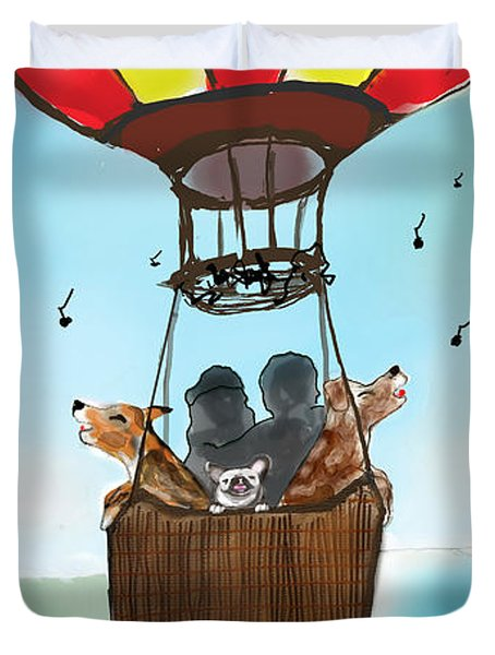 3 Dogs Singing In A Hot Air Balloon Duvet Cover