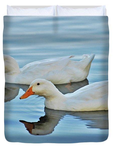 Duvet Cover featuring the photograph 3- Ducks by Joseph Keane
