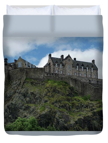 Duvet Cover featuring the photograph Edinburgh Castle In Scotland by Jeremy Lavender Photography