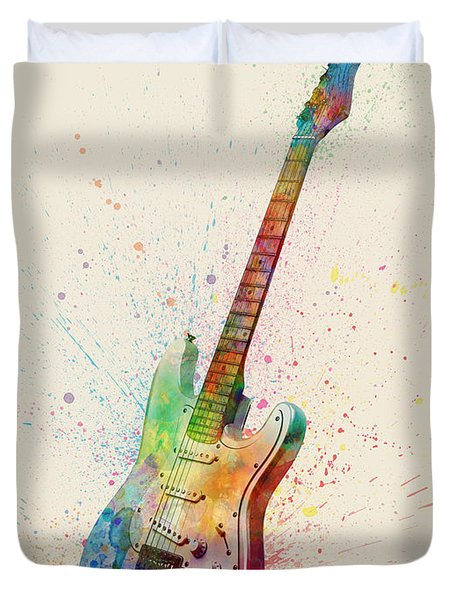 Electric Guitar Abstract Watercolor Duvet Cover