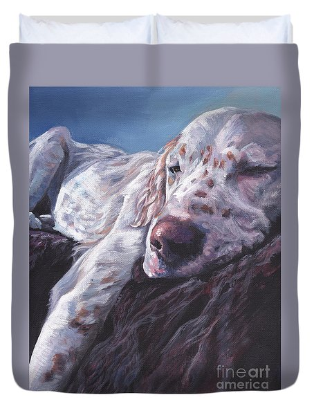 Duvet Cover featuring the painting English Setter by Lee Ann Shepard