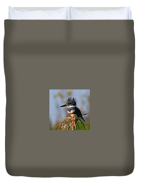 Female Belted Kingfisher Duvet Cover