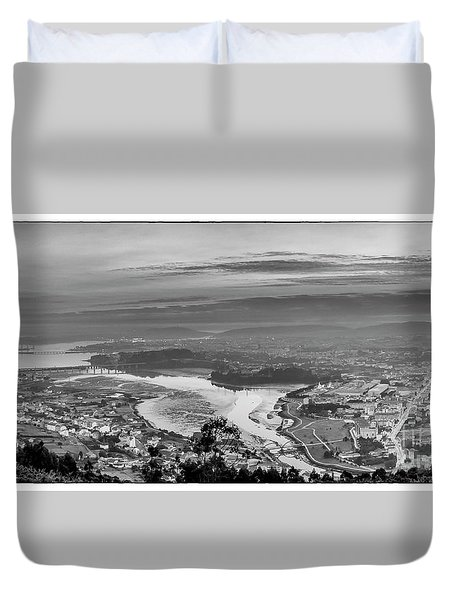 Duvet Cover featuring the photograph Ferrol's Ria Panorama From Mount Ancos Galicia Spain by Pablo Avanzini