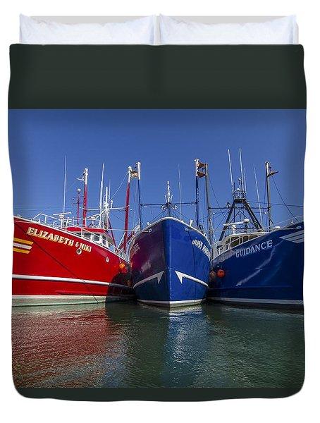 3 Fishing Boats Duvet Cover