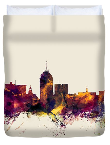 Fresno California Skyline Duvet Cover