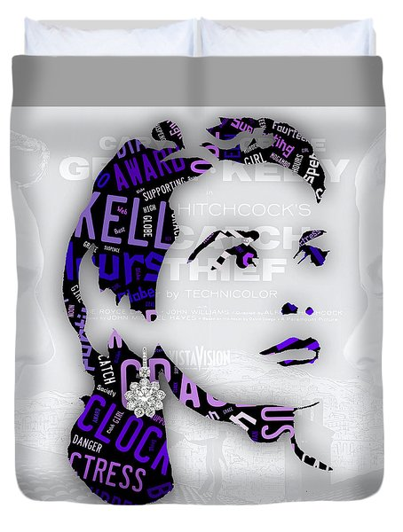 Grace Kelly Movies In Words Duvet Cover by Marvin Blaine
