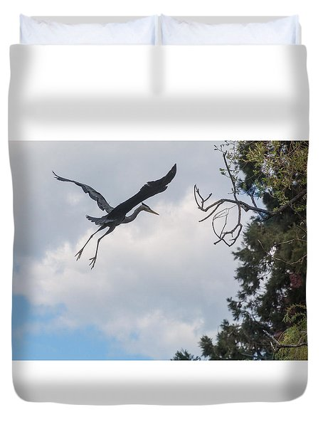 Great Blue Heron Duvet Cover by Keith Boone