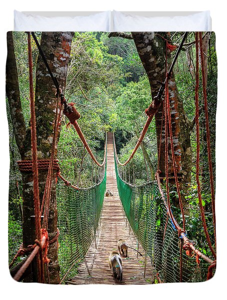 Duvet Cover featuring the photograph Hanging Bridge by Alexey Stiop