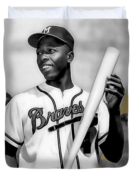 Hank Aaron Collection Duvet Cover by Marvin Blaine