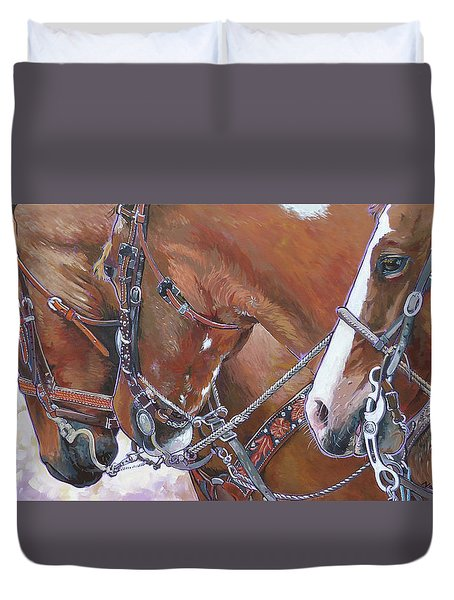 Duvet Cover featuring the painting 3 Heads by Nadi Spencer