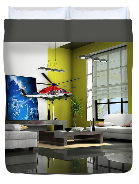 Helicopter Art Duvet Cover by Marvin Blaine