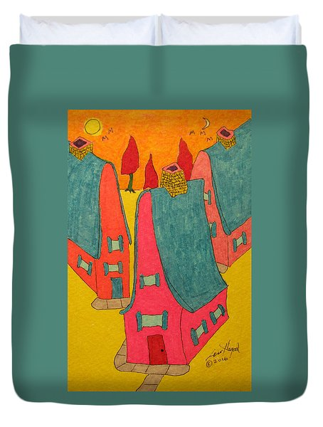 3 Homes With Three Red Trees Duvet Cover