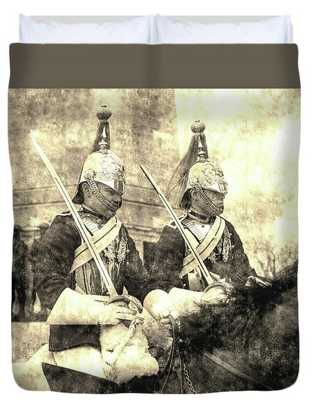 Household Cavalry Changing Of The Guard Vintage Duvet Cover