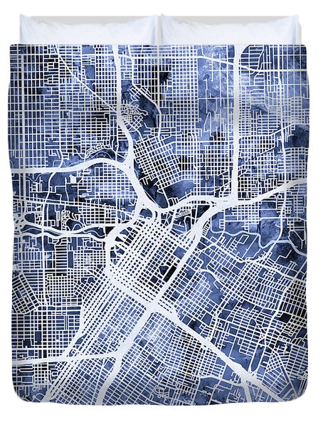 Houston Texas City Street Map Duvet Cover