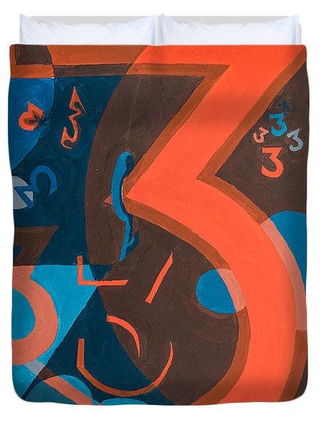 3 In Blue And Orange Duvet Cover