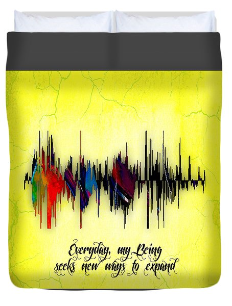 Inspirational Soundwave Message Duvet Cover by Marvin Blaine