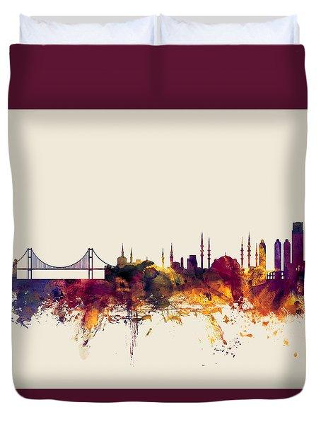 Istanbul Turkey Skyline Duvet Cover by Michael Tompsett