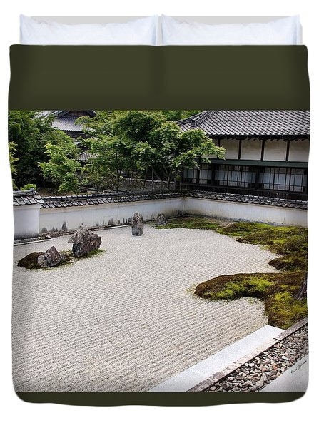 Duvet Cover featuring the photograph Japanese Pebbles Garden by Yumi Johnson