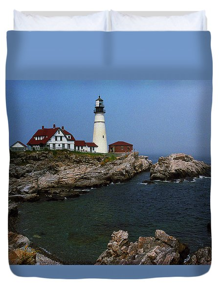 Lighthouse - Portland Head Maine Duvet Cover by Frank Romeo