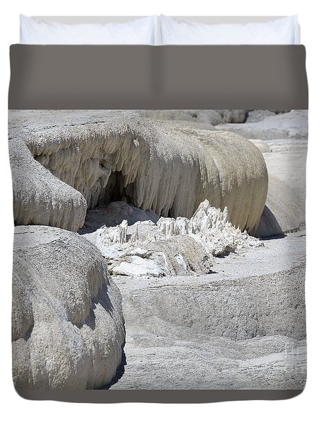 Mammoth Hot Springs Upper Terraces In Yellowstone National Park Duvet Cover by Louise Heusinkveld