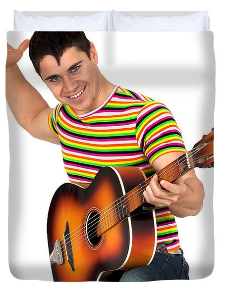 Man Playing The Guitar Duvet Cover