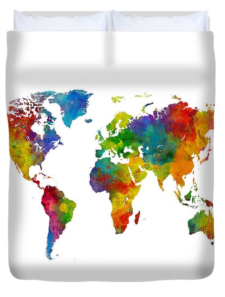 Map Of The World Map Watercolor Duvet Cover by Michael Tompsett