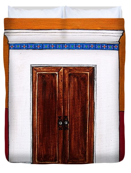 Mexican Door Painting Duvet Cover