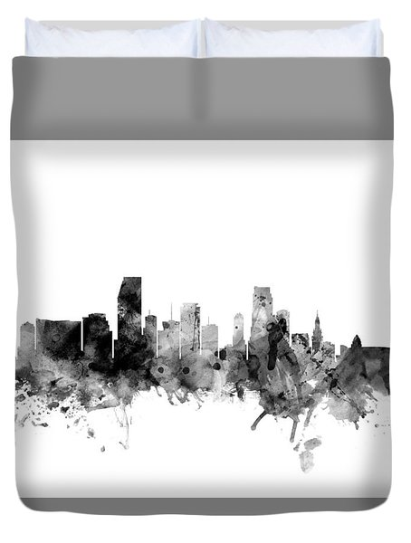 Miami Florida Skyline Duvet Cover by Michael Tompsett