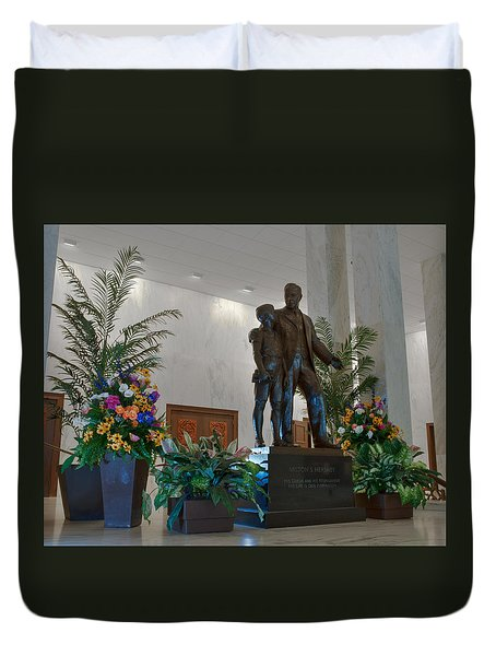 Duvet Cover featuring the photograph Milton Hershey And The Boy by Mark Dodd