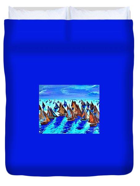 Monet Fishing Boats Calm Seas Duvet Cover