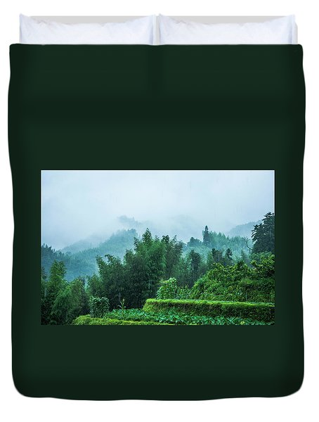 Duvet Cover featuring the photograph Mountains Scenery In The Mist by Carl Ning