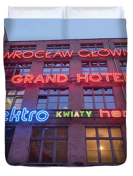 Neon Side, Wroclaw Duvet Cover