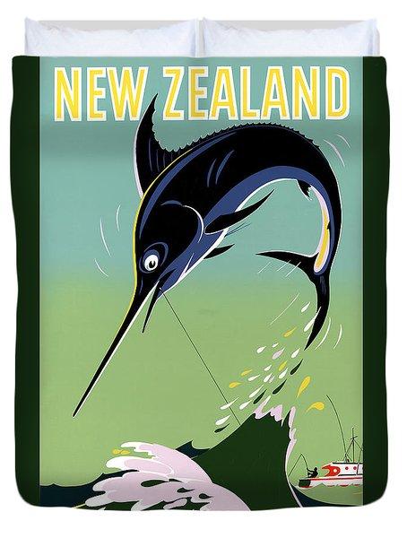New Zealand Vintage Travel Poster Restored Duvet Cover