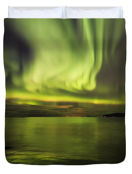 Northern Lights Reykjavik Duvet Cover