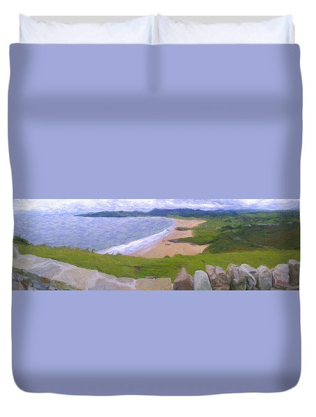 Duvet Cover featuring the pyrography Ocean by Artistic Panda