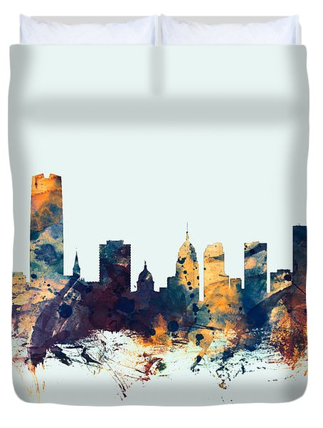 Oklahoma City Skyline Duvet Cover